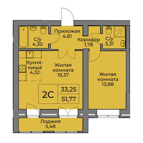 Вариант №3564, 2-комнатная квартира в жилом комплексе