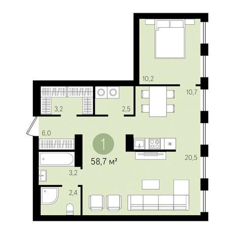 Вариант №3449, 2-комнатная квартира в жилом комплексе