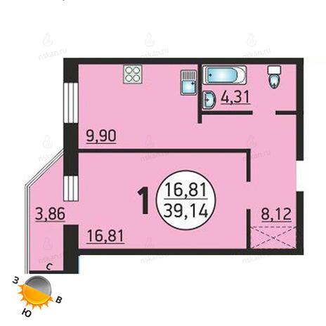 Вариант №1377, 1-комнатная квартира в жилом комплексе Семьи Шамшиных 55
