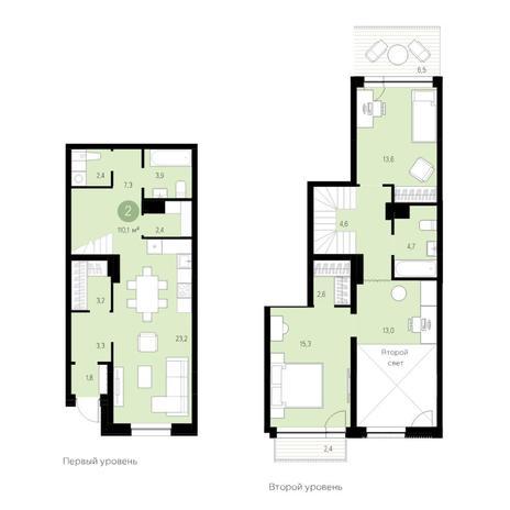 Вариант №4701, 3-комнатная квартира в жилом комплексе