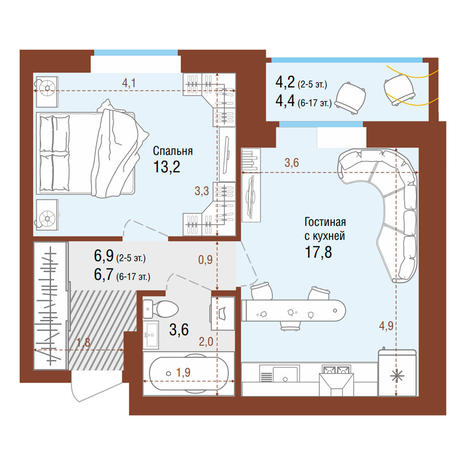 Вариант №4209, 2-комнатная квартира в жилом комплексе