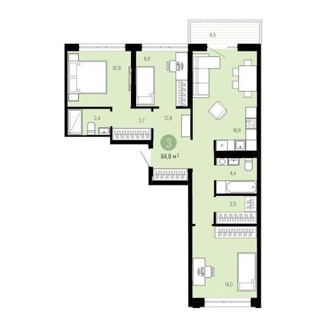 Вариант №4839, 4-комнатная квартира в жилом комплексе Европейский Берег