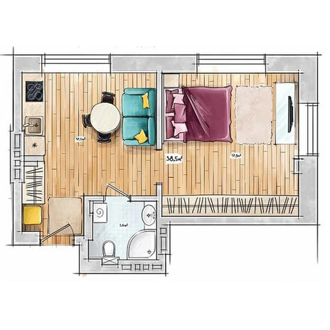 Вариант №3942, 1-комнатная квартира в жилом комплексе БонАпарт
