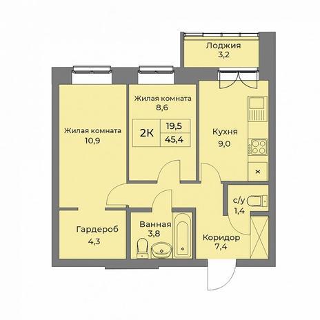 Вариант №5285, 2-комнатная квартира в жилом комплексе Новые Снегири