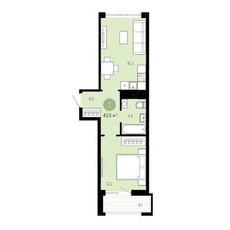 Вариант №4830, 2-комнатная квартира в жилом комплексе Пшеница