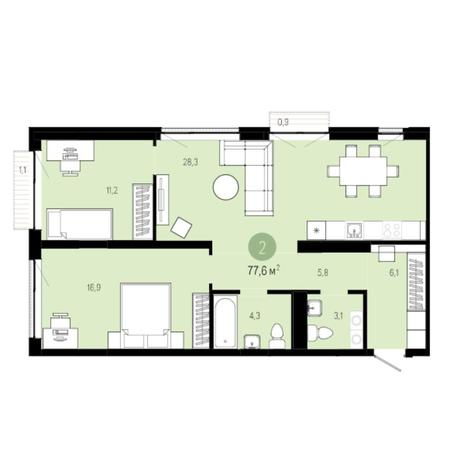 Вариант №6264, 3-комнатная квартира в жилом комплексе