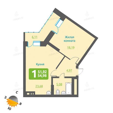 Вариант №1207, 2-комнатная квартира в жилом комплексе Марсель