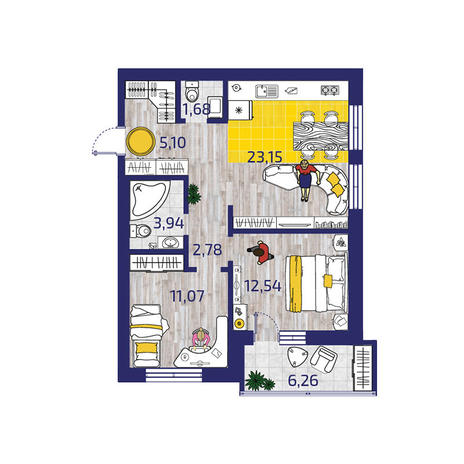 Вариант №3722, 3-комнатная квартира в жилом комплексе