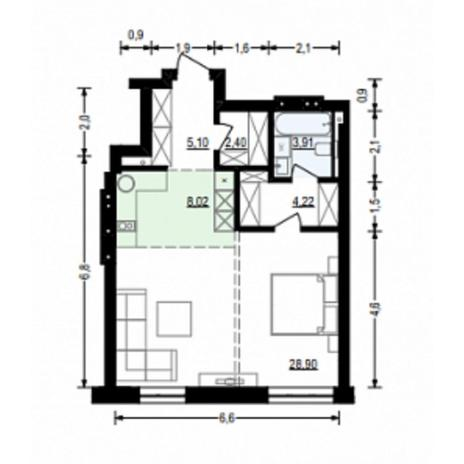 Вариант №4914, 2-комнатная квартира в жилом комплексе