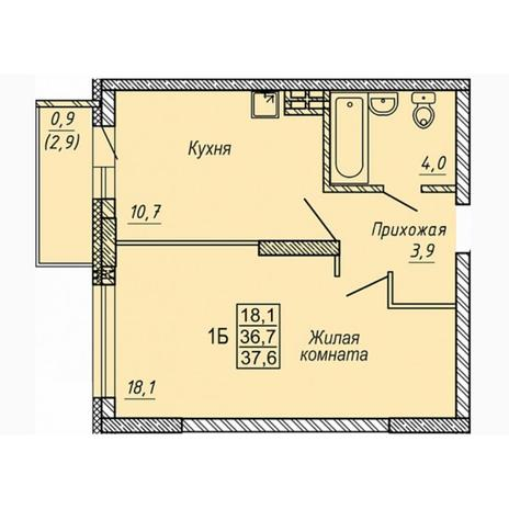 Вариант №5316, 1-комнатная квартира в жилом комплексе