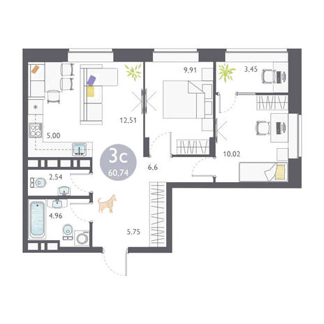 Вариант №3361, 3-комнатная квартира в жилом комплексе Ясный берег