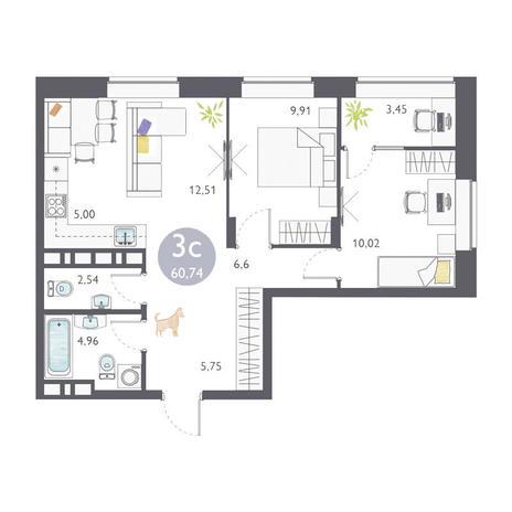 Вариант №3361, 3-комнатная квартира в жилом комплексе