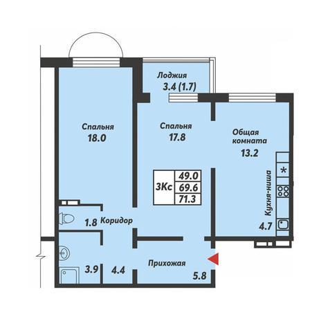 Вариант №3692, 3-комнатная квартира в жилом комплексе Пшеница
