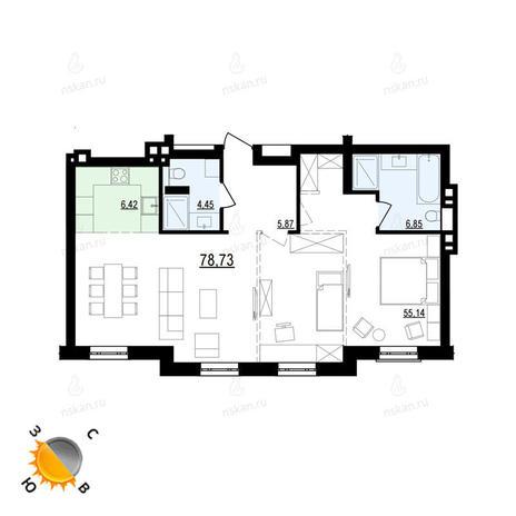 Вариант №875, 3-комнатная квартира в жилом комплексе Жуковка