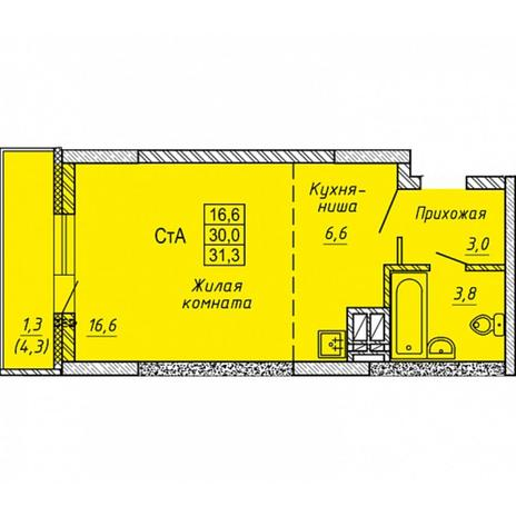 Вариант №5655, 1-комнатная квартира в жилом комплексе