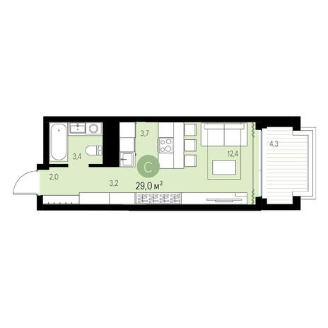 Вариант №5454, 1-комнатная квартира в жилом комплексе