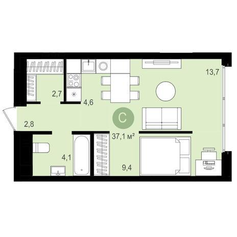 Вариант №4161, 1-комнатная квартира в жилом комплексе Аквамарин