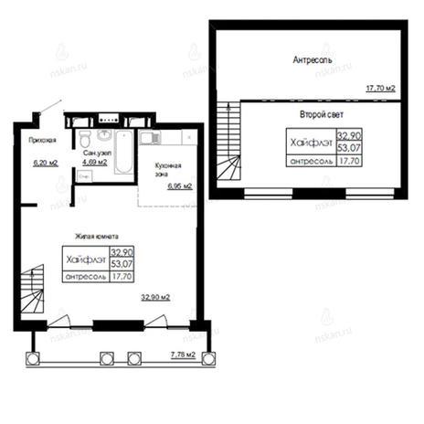 Вариант №2518, 2-комнатная квартира в жилом комплексе На Березовой роще