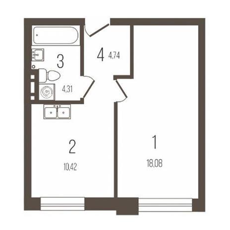 Вариант №3642, 1-комнатная квартира в жилом комплексе История