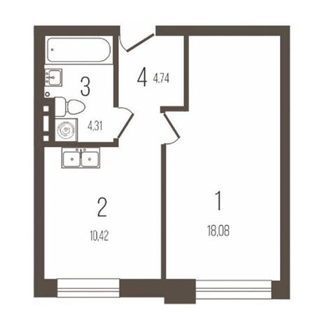 Вариант №3642, 1-комнатная квартира в жилом комплексе