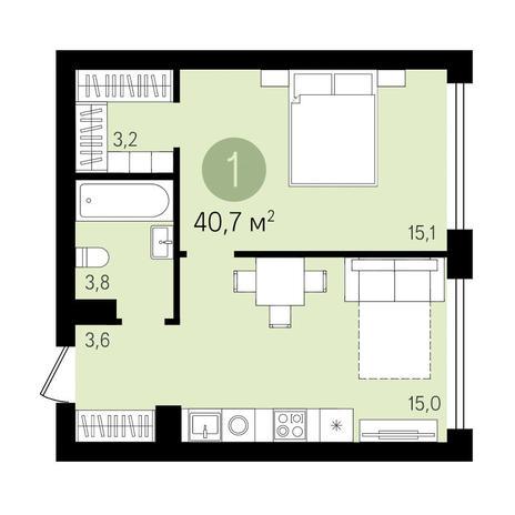 Вариант №3307, 1-комнатная квартира в жилом комплексе