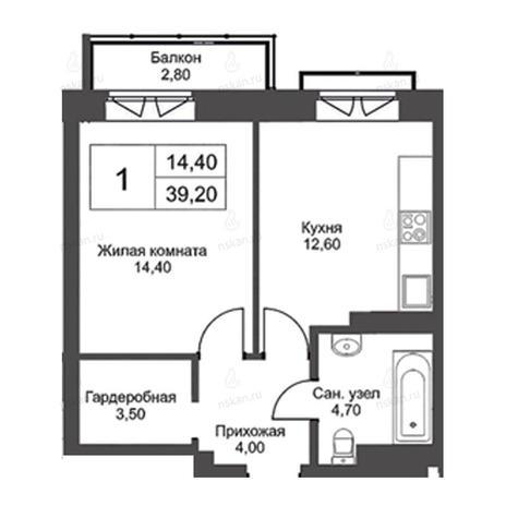 Вариант №2724, 1-комнатная квартира в жилом комплексе
