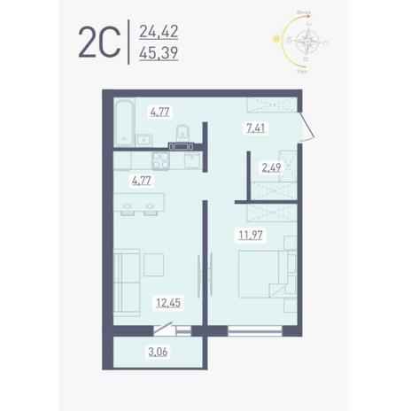 Вариант №4888, 2-комнатная квартира в жилом комплексе Радуга Сибири