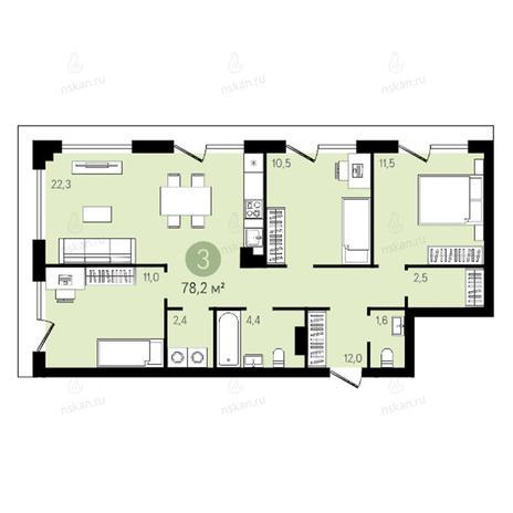Вариант №2641, 4-комнатная квартира в жилом комплексе Квартал на Никитина