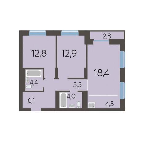 Вариант №5779, 3-комнатная квартира в жилом комплексе