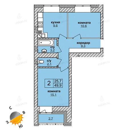 Вариант №1621, 2-комнатная квартира в жилом комплексе