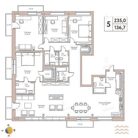 Вариант №2444, 5-комнатная квартира в жилом комплексе