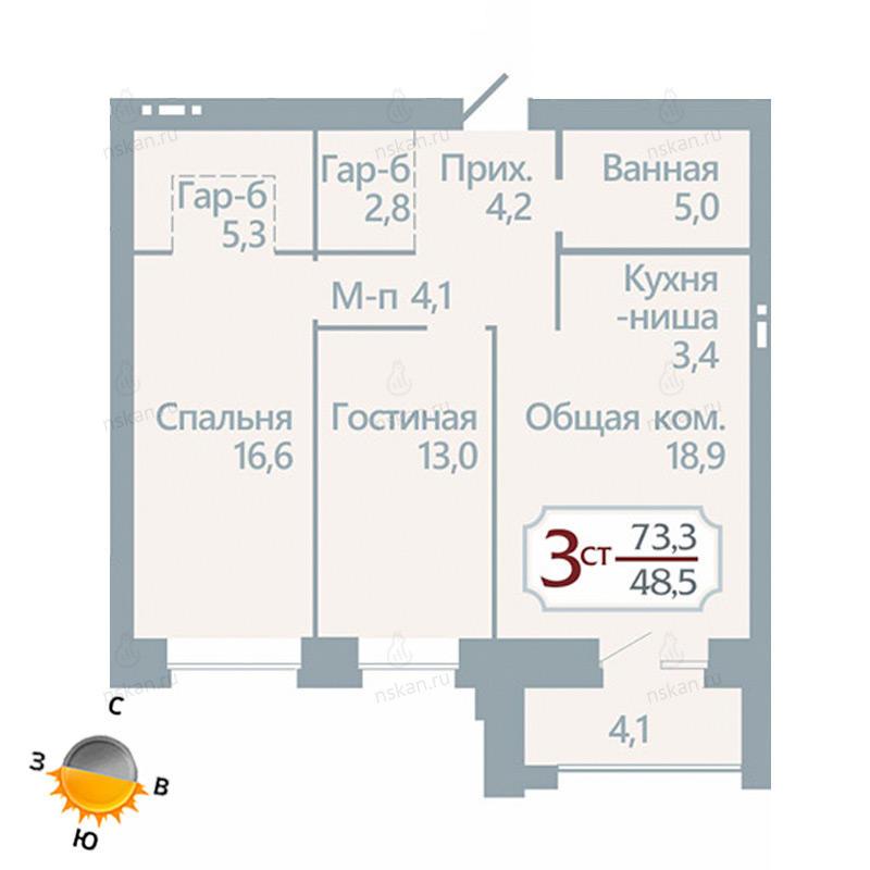 Планировка 3-комн. студия площадью 73.3 м<sup>2</sup> в ЖК Бульварный переулок