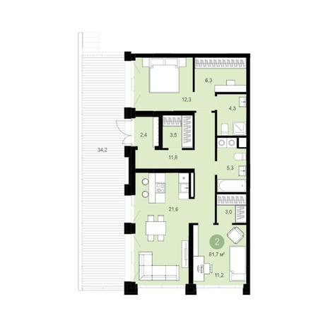 Вариант №6284, 3-комнатная квартира в жилом комплексе