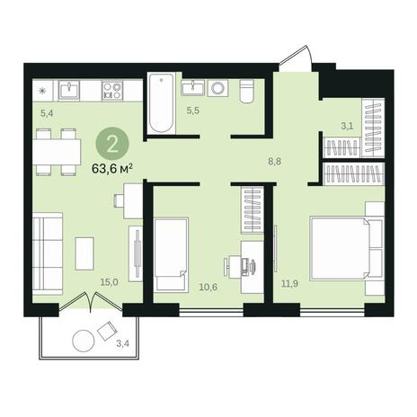 Вариант №6442, 3-комнатная квартира в жилом комплексе