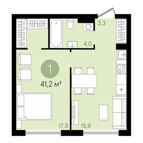 Вариант №3438, 2-комнатная квартира в жилом комплексе