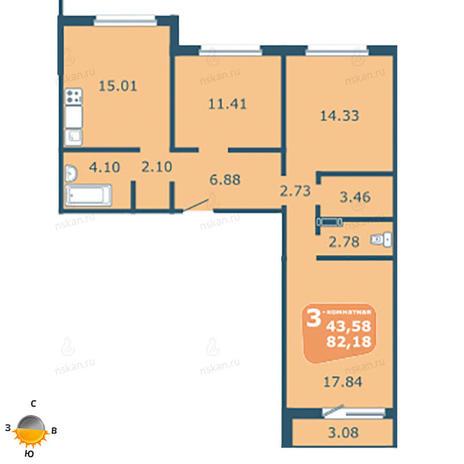 Вариант №1798, 4-комнатная квартира в жилом комплексе На Фадеева