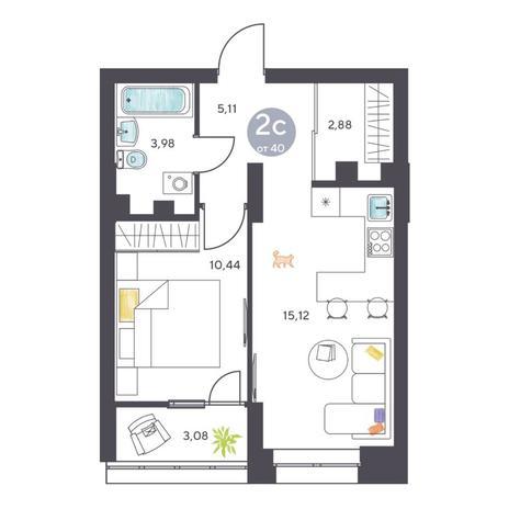 Вариант №5121, 2-комнатная квартира в жилом комплексе