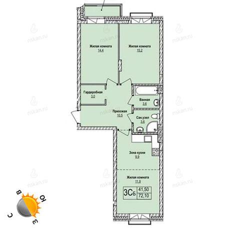 Вариант №1250, 3-комнатная квартира в жилом комплексе Эволюция