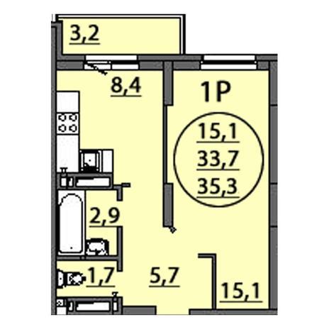 Вариант №2510, 1-комнатная квартира в жилом комплексе Свобода