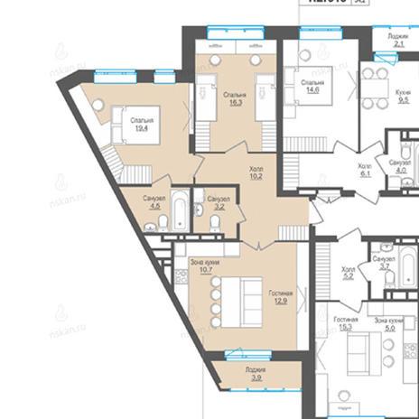 Вариант №859, 3-комнатная квартира в жилом комплексе Пифагор