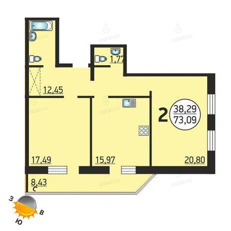 Вариант №1373, 2-комнатная квартира в жилом комплексе Семьи Шамшиных 55