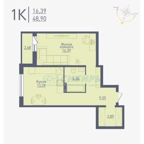 Вариант №4780, 1-комнатная квартира в жилом комплексе