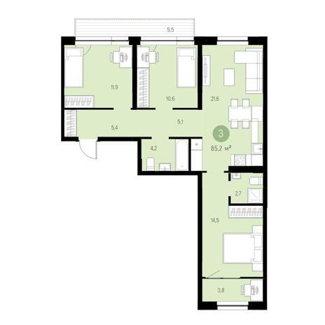 Вариант №4745, 4-комнатная квартира в жилом комплексе Европейский Берег