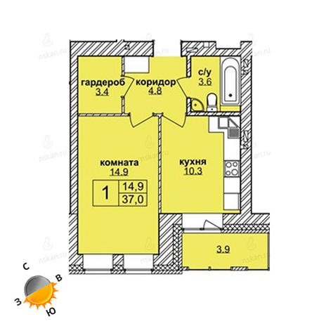 Вариант №1599, 1-комнатная квартира в жилом комплексе Северная корона