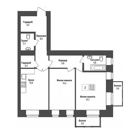 Вариант №3138, 2-комнатная квартира в жилом комплексе