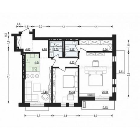 Вариант №4900, 3-комнатная квартира в жилом комплексе
