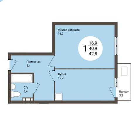 Вариант №3180, 1-комнатная квартира в жилом комплексе Акварельный 3.0