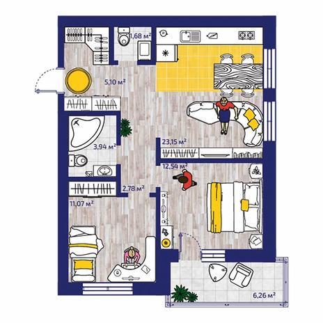 Вариант №4377, 3-комнатная квартира в жилом комплексе Весна