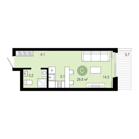 Вариант №4075, 1-комнатная квартира в жилом комплексе Европейский Берег