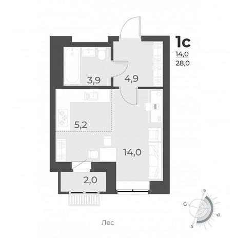 Вариант №6293, 1-комнатная квартира в жилом комплексе Цивилизация